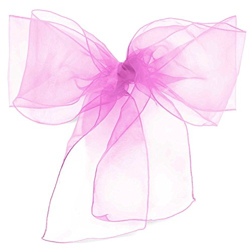 Lavender Coral - ELINA HOME PACK OF 50 Organza Net Chair Cover Bow Sash Wedding Banquet Decor coral (50, LAVENDER)