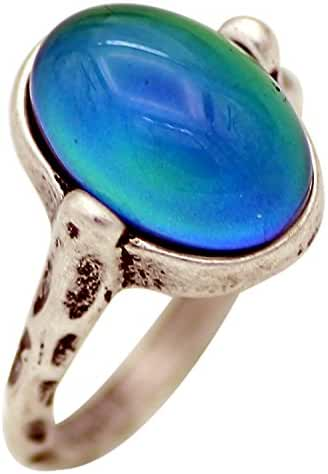 Mojo Hand Polished Antique Sterling Silver Plating Oval Stone Color Change Mood Ring MJ-RS050
