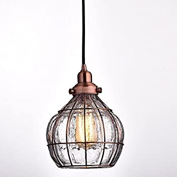 Pendant Lighting Vintage YOBO Lighting Vintage Cracked Glass Rustic Wire Ceiling Pendant Light Red Antique Copper