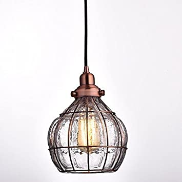 YOBO Lighting Vintage Cracked Glass Rustic Wire Ceiling Pendant Light Red Antique Copper : wiring for pendant lights - yogabreezes.com