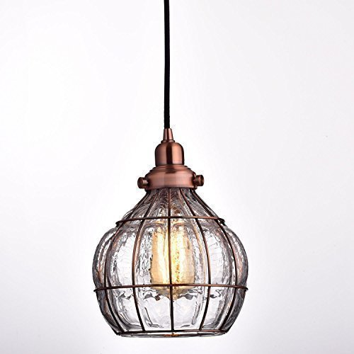 Farmhouse kitchen lighting amazon yobo lighting vintage cracked glass rustic wire ceiling pendant light red antique copper workwithnaturefo