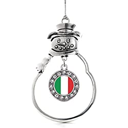 Inspired Silver - Italian Flag Charm Ornament - Silver Circle Charm Snowman Ornament with Cubic Zirconia Jewelry