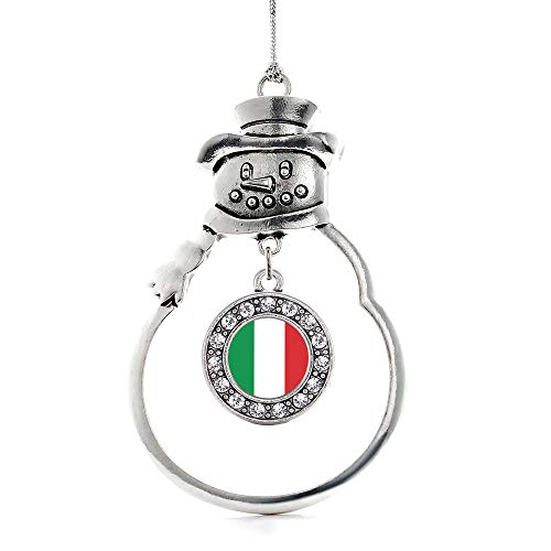 (Inspired Silver - Italian Flag Charm Ornament - Silver Circle Charm Snowman Ornament with Cubic Zirconia)
