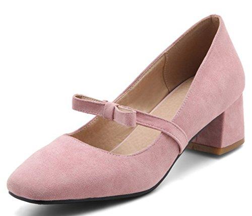 Idifu Dressy Square Toe Mid Chunky Tacchi Slip On Pumps Con Fiocchi Rosa 1