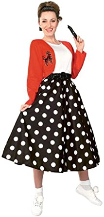 50s Skirt Styles | Poodle Skirts, Circle Skirts, Pencil Skirts 1950s 50s Polka Dot Sock Hop Girl Costume $22.99 AT vintagedancer.com