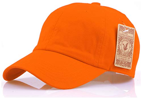 - RufnTop Black Eagles 100% Cotton and Denim Washed Classic Dad Hat Plain Dyed Low Profile Baseball Cap(Orange OS)