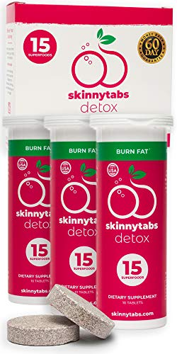 - Skinnytabs -- Berry Flavor -- Effervescent Skinny Tabs Detox -- 15 All-Natural Superfoods, Laxative-Free, 30 Servings -- Sugar-Free, Low Carb -- Flush Toxins, Reduce Bloating & Supercharge Metabolism