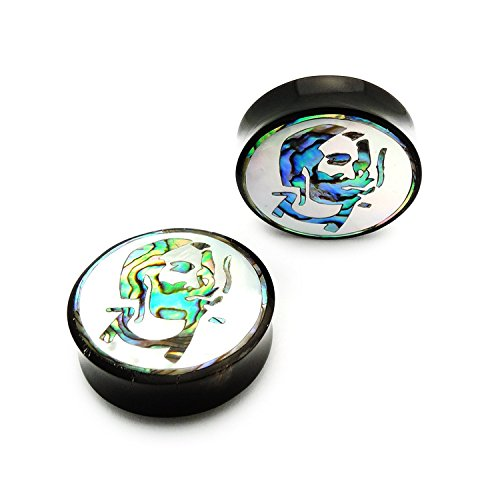 JewelryVolt Handmade Mother of Pearl + Abalone Shell Horn Inlay Design (Smoking Man A 44mm (1 ()