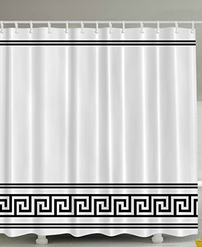 White Greek Drapes - Ambesonne Black and White Shower Curtain by, Ethnic Symbol of Richness Happiness Classic Decor Traditional Greek Fabric Bathroom Set Greece Art Prints Rome Design Theme Decoration, 69 x 70 Inches