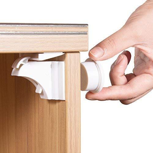 Cierres magn/éticos para armarios y cajones de seguridad para ni/ños 6 cerraduras + 2 llaves cerraduras de armario a prueba de beb/és con cinta adhesiva 3M f/ácil de instalar