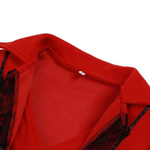 Longues Dentelle Rétro Bouton Up Outwear Femmes S Vintage Femmes Zolimx Business 3xl Rouge Vestes Frac Garniture Hommes Irrégulier Manches rouge Coat Formelle 7Pcq0cz8