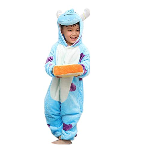 zgshnfgk Cute Cartoon Pajamas Children's one-Piece Pajamas Costumes(Blue 125-for Height (138-146cm) ()