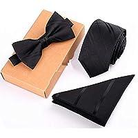 Men's Neckties + Handkerchief + Bow Tie Set Pocket Square Towel Bowtie Wedding/Design: 3 3054