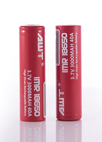 3968c2ded7e5 AWT IMR 18650 Battery 3000mAh 40A High Drain Flat Top 3.7V Battery (2 pack