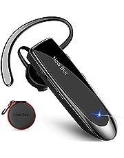 New Bee Bluetooth-headset V5.0 Handsfree Bluetooth-hörlurar med 24-timmars samtalstid och mer 60 dagar standby med headsetfodral för iPhone, Android och bärbar dator