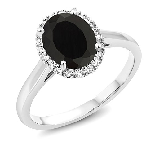 Gem Stone King 2.00 Ct Oval Black Onyx 10K White Gold Ring