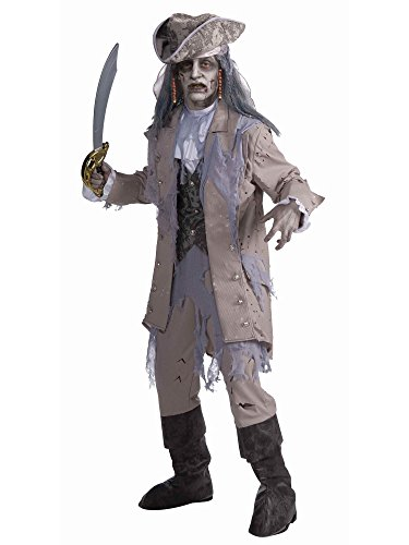 Forum Novelties Men's Zombie Pirate Ghost Costume, Gray/Beige, One Size