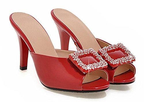 Vestido Elegante De Las Mujeres Del Rhinestones De Las Mujeres Del Dedo Del Pie De Pee Toe Del Resbalón En Las Sandalias Del Tobogán Zapatos De Tacón Alto Del Estilete Rojos