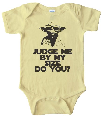 24TEE BABY ONESIE - YODA JUDGE ME BY MY SIZE DO YOU? Light Yellow (6 MONTH)