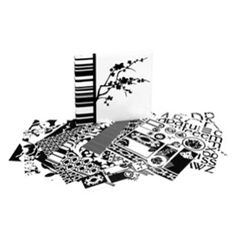 (C.R. Gibson ST12K-6630 Tapestry Boxed 12-by-12-Inch Scrapbook Kit, Noir Blanc)