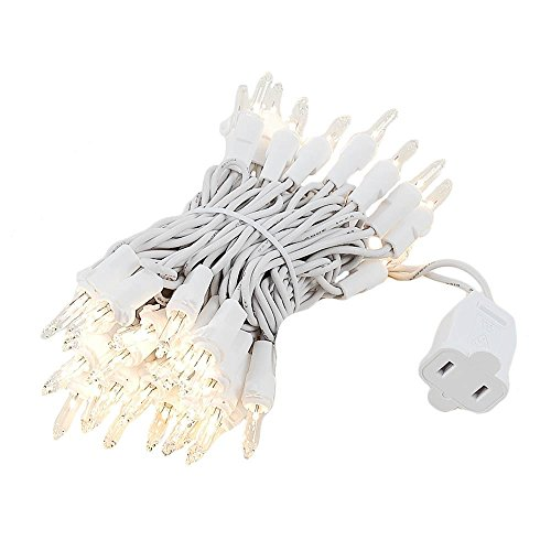 Novelty Lights 50 Light Clear Christmas Mini Light Set, White Wire, 11' Long (Lights Up Christmas Tree)