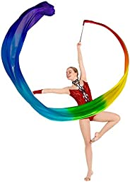 KIKIGOAL 16.4FT Dance Streamer Gymnastics Dance Ribbons Belly Dance Real Silk Ribbon Throw Streamer with Rod f