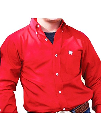 sic Fit Long Sleeve Button One Open Pocket Solid, Red, L (Boys Cinch)