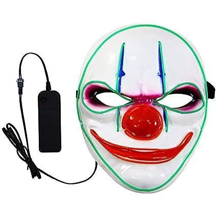 Dewin Máscara de Payaso - Máscara de Resplandor LED de Payaso, para la Fiesta de