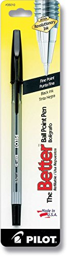 6 PACKS: Pilot The Better Ballpoint Stick Pen, Fine Point, Black Ink (35010)