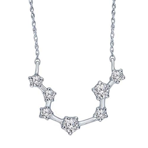 Triss Jewelry 1/5 Cttw Diamond Aquarius Zodiac Sign Pendant Necklace For Women in Sterling Silver