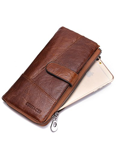 Price comparison product image Contacts Men Genuine Leather Card Case Bifold Wallet Checkbook Organizer Brown