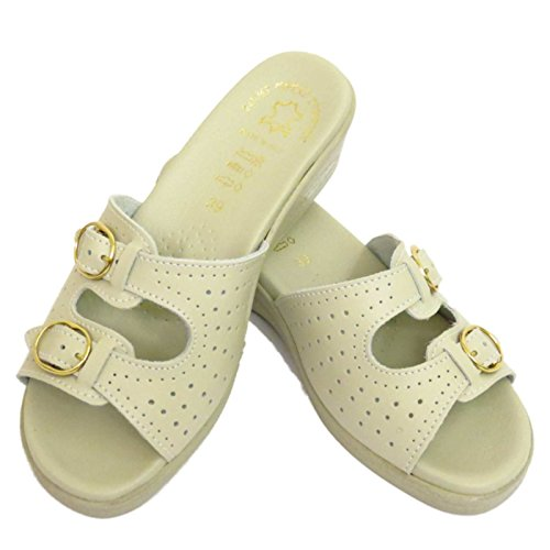 Damen Beige Leder zum Reinschlüpfen Keil Niedrig Absatz Sandalen Pumps Bequem Arbeitsschuhe UK 3-9