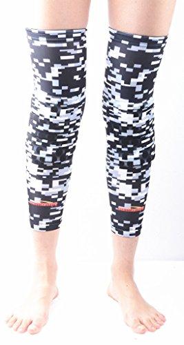 Game Plan Gear - COOLOMG Pair Kids Adult Pad Crashproof Basketball Leg Knee Long Sleeve Protector Gear Digital Grey XXS