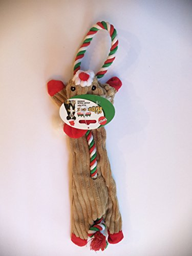 18 Inch Dog Holiday Christmas Corduroy Skinneeez Tug Rope Reindeer With Squeaker By (Skinneeez Rope)