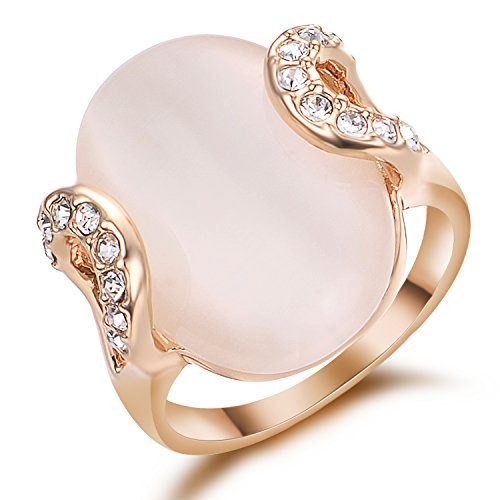 Crystal Ring Deco (Yoursfs Big Pink Ring Opal for Women Deco Engagement 18K Rose GP Fashion Jewelry)