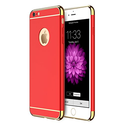 iPhone 6s Plus/6 Plus Case RANVOO Stylish Slim Hard Case with 3 Detachable Parts for Apple iPhone 6s Plus/6 Plus, CHROME GOLD and MATTE RED, [CLIP-ON]
