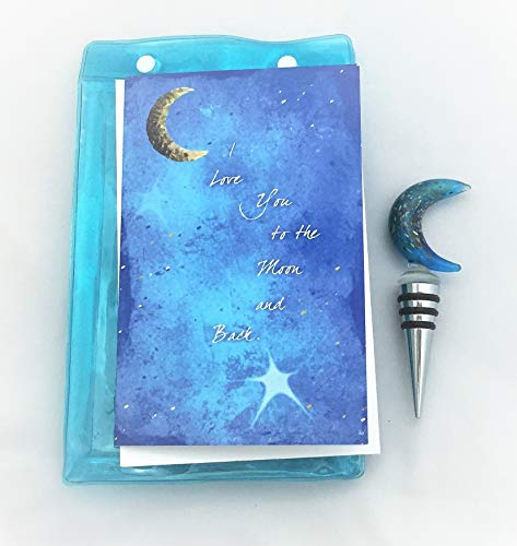 Smiling Wisdom - Glass Blue Moon w Gold Flecks Wine Bottle Stopper Gift Set - I Love You to the Moon & Back Greeting Card - Mother's Day, Father's Day, Birthday, Anniversary Gift - Blue