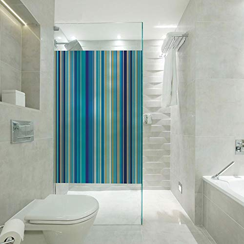 Window Films Static Window Cling Paper,Vertical Stripes Repeating Retro Revival Pattern Funky Abstract Composition Decorative,Customizable Size,Suitable for Bathroom,Door,Glass etc,Mustard Blue White