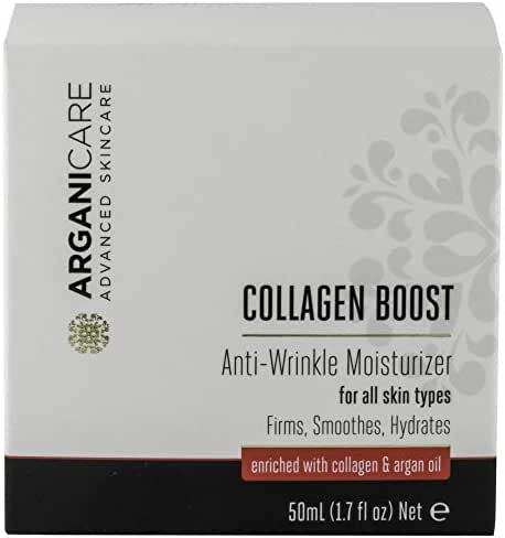 Arganicare Collagen Boost Anti Wrinkle Moisturizer Enriched with Organic Argan Oil for All Skin Types 1.7 fl. Oz.