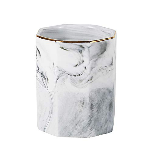 Desk Pen Holder - YOSCO Ceramic Desk Pen Holder Stand Marble Pattern Pencil Cup Pot Desk Organizer Makeup Brush Holder(Gray)