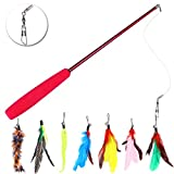 UEETEK Retractable Cat Toys,Interactive Feather Teaser Wand Toy with 7 Refills Feathers Birds Worms Catcher for Cats Kitty