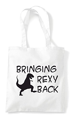 White Funny Tyrannosaurus Rex I'm Bag T Tote Bringing Shopper Rexy Parody Back POOxwa0