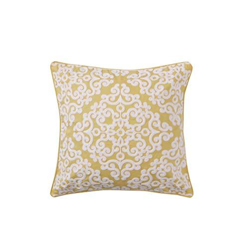 Laurel Coral Yellow Crewel Stitch Lattice Pillow, 100% Cotton, Yellow, White
