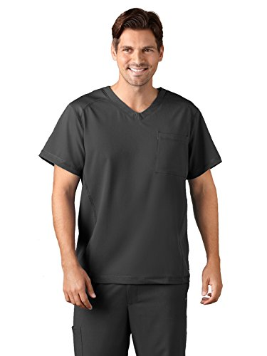Jockey Classic Fit Men's Mesh V-Neck Solid Scrub Top Charcoal Large ()