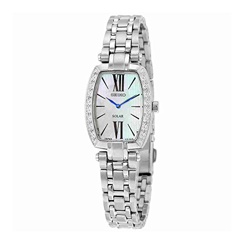 Seiko SUP283 Women's Tressia Stainless Steel Silver Bracelet Band White Dial Watch (Tonneau White Bracelet)