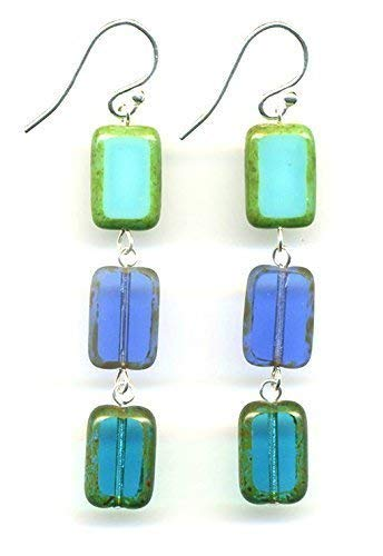 - Glass Bead Rectangle Drop Earrings in Turquoise Teal Sapphire Navy Blue, Rectangular Dangle Earrings, Sterling Silver