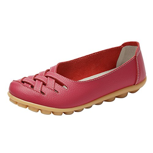 Hollow Women PU Slip Time On Dear Flats Rose Out wPgFnq