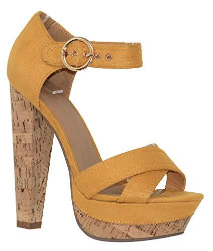 MVE Shoes Women's Block Cork Heel Platform Thick Strap Comfortable Cushioned Heel, Singing mster ISU 10