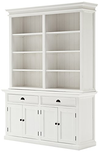 NovaSolo Halifax Pure White Mahogany Wood Hutch Bookcase With Storage And 2 Drawers - Contemporary Mahogany Hutch