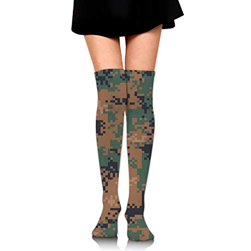 Sourde Customized Digital Woodland Camouflage Seamless PatternFashion Women's Knee Socks, Knee-length Socks, Dresses And Socks ()